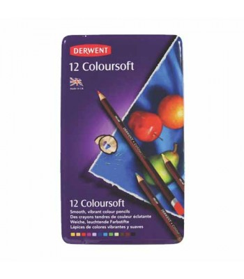 Derwent Tin Coloursoft Pencils 12