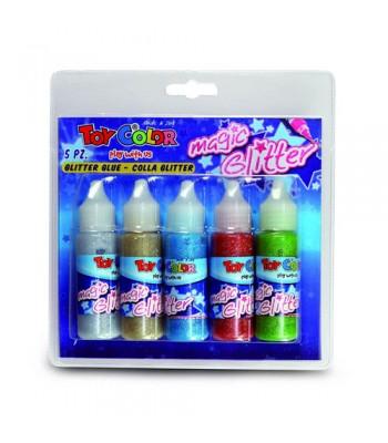 Toy Color Glitter Glue 5x1 Set