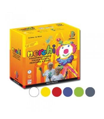 Nerchi Finger Paint 6 Plastic Pots 200ml Each