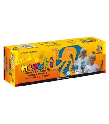 Nerchi Finger Paint 3 Plastic Pots 100ml Each