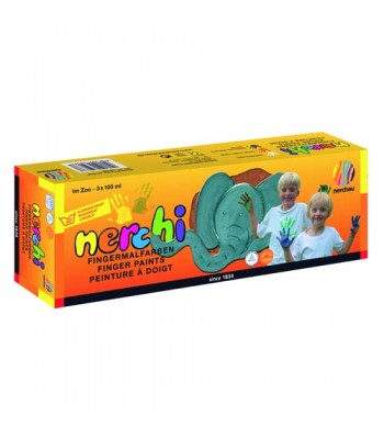 Nerchi Finger Paint At the Zoo 3 Plastic Pots 100ml Each