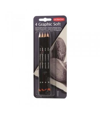 Derwent Graphic Pencil Soft Blister Of 4